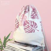 bag,drawstring bag,backpack,canvas bag,white bag,white leather bag,faux leather bag,tropical,lead