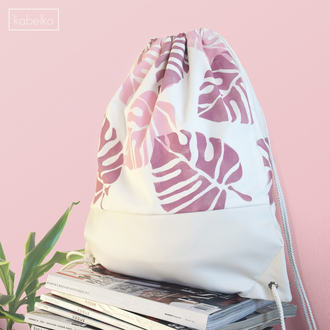 bag drawstring bag backpack canvas bag white bag white leather bag faux leather bag tropical lead