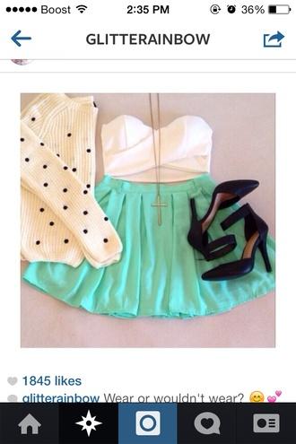 sweater polka dots skirt mint green skirt