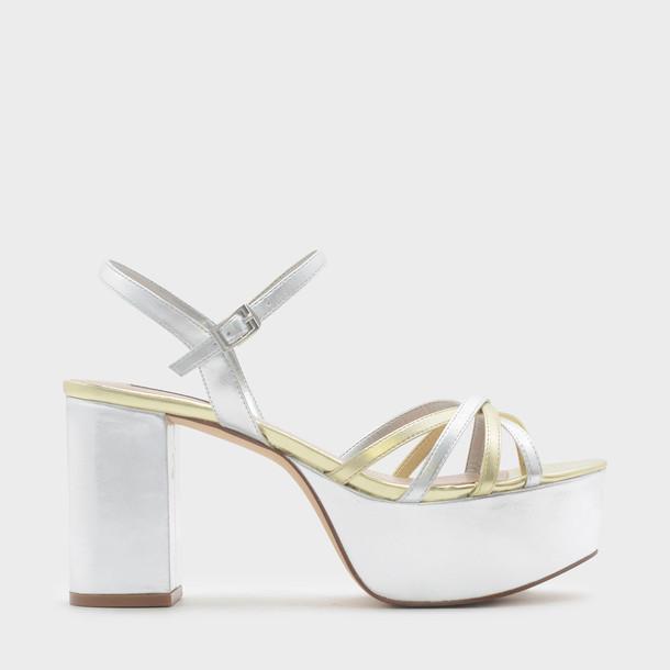 cross sandals platform sandals silver shoes