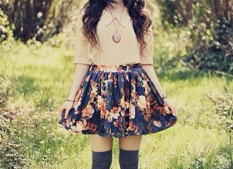 floral skirt mini skirt high socks