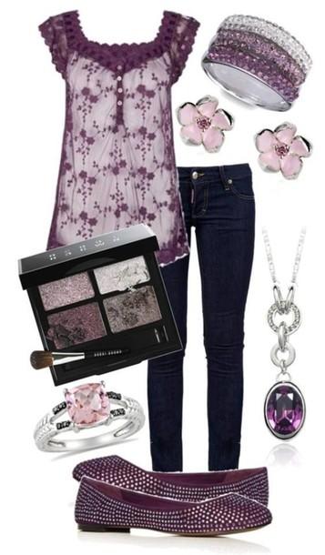 shirt lace purple