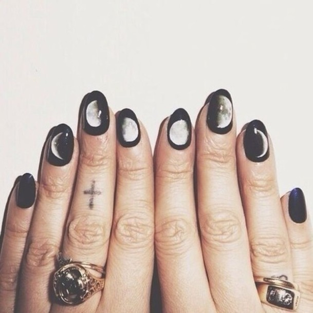 Nail Polish Nails Art Moon Pastel Goth Grunge Jewels Halloween Makeup Witch Accessories Black White