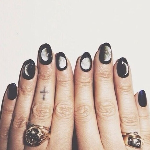 nail polish nails nail art moon pastel goth pastel grunge jewels halloween halloween makeup witch moon nail accessories black white grunge tumblr outfit tumblr tumblr clothes fashion soft grunge brandy melville goth hipster pale grunge