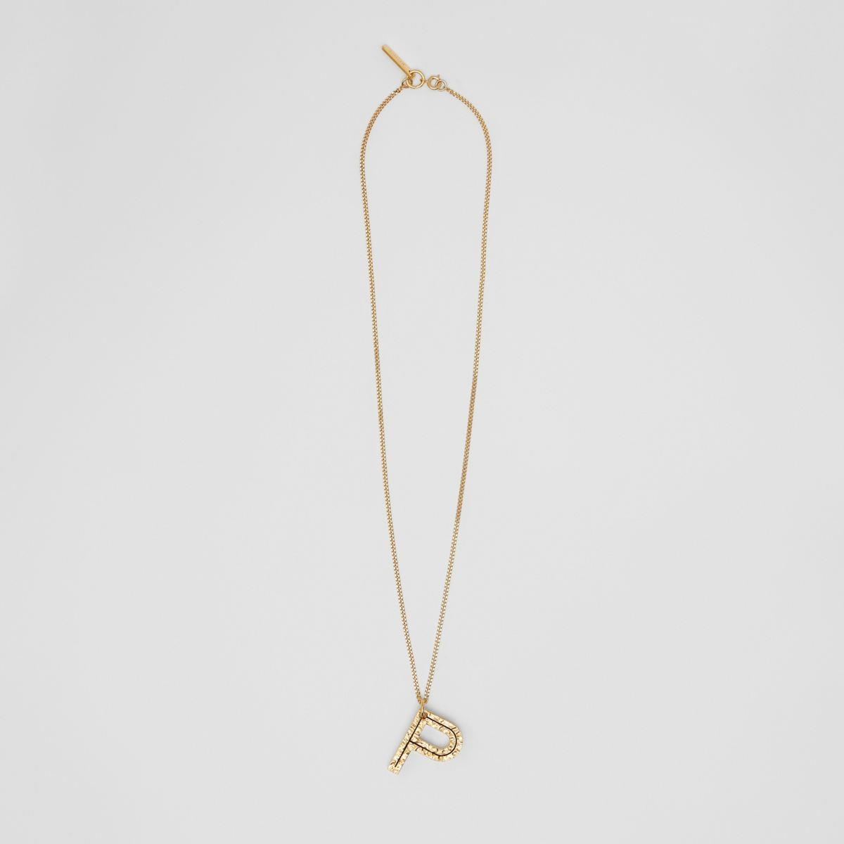 'P' Alphabet Charm Gold-plated Necklace