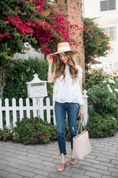 top,hat,tumblr,white top,sleeveless,sleeveless top,sun hat,denim,jeans,shoes,mules,pink shoes,bag