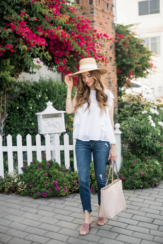 top hat tumblr white top sleeveless sleeveless top sun hat denim jeans shoes mules pink shoes bag