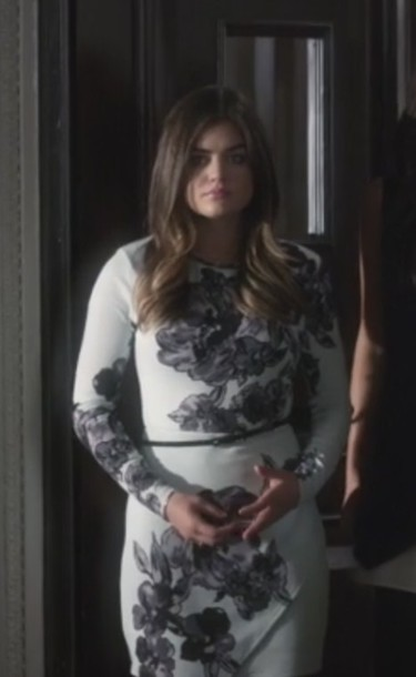 dress mint long sleeves floral aria montgomery lucy hale pretty little liars belted dress envelope dress