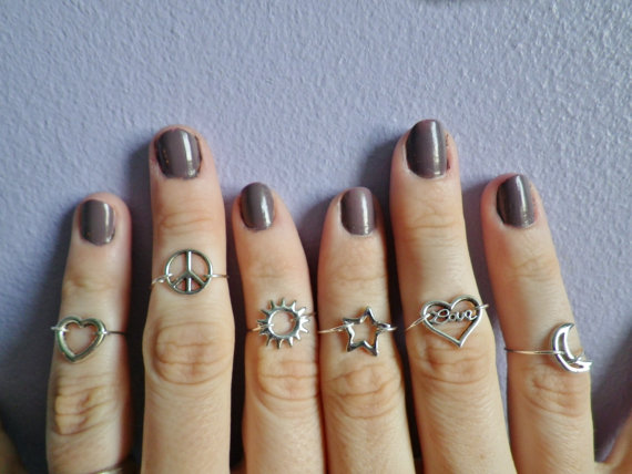 Set of Six midi knuckle rings Sun Moon Star Peace by lotusfairy