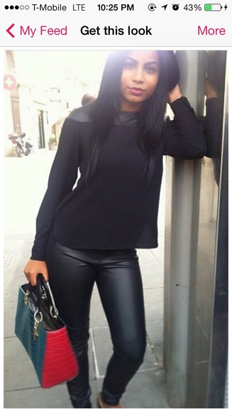 bag black tote bag blouse leather leather pants leather blouse black leather pants black, skinny, leather pants black crop top crop tops pants