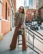pants,wide-leg pants,high waisted pants,pumps,check blazer,turtleneck,sunglasses,earrings,handbag
