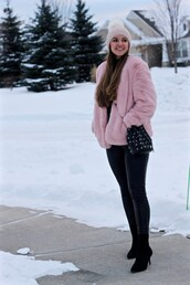lamariposa,blogger,hat,coat,sweater,pants,shoes,bag,fur coat,beanie,bucket bag,winter outfits,boots