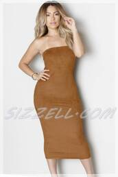 dress,brown dress,strapless,suede,midi dress,bodycon dress,girl with curves,women,bodycon