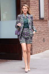 jacket,shorts,blake lively,suit,blazer,top,celebrity,celebrity style