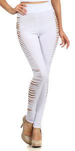 Women sexy slashed side cut out ripped goth emo fitted leggings tights pants usa