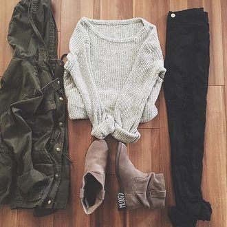 top outfit forever 21 grey sweater knitted sweater fall outfits sweater soft grunge top cute cute top jacket boots army green jacket black jeans