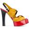 Vivienne westwood - platform sandals - women - leather/satin - 36, yellow/orange, leather/satin