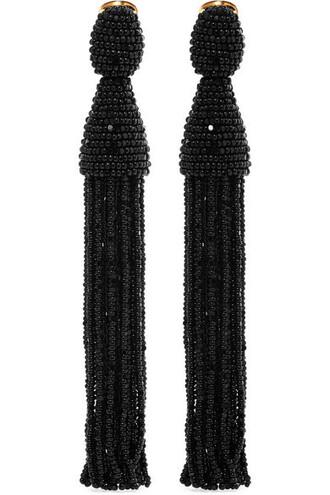 beaded earrings gold black jewels
