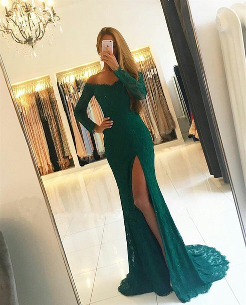 dress emerald green prom dress