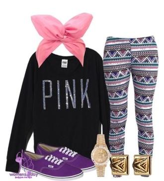 leggings tribal pattern pink by victorias secret