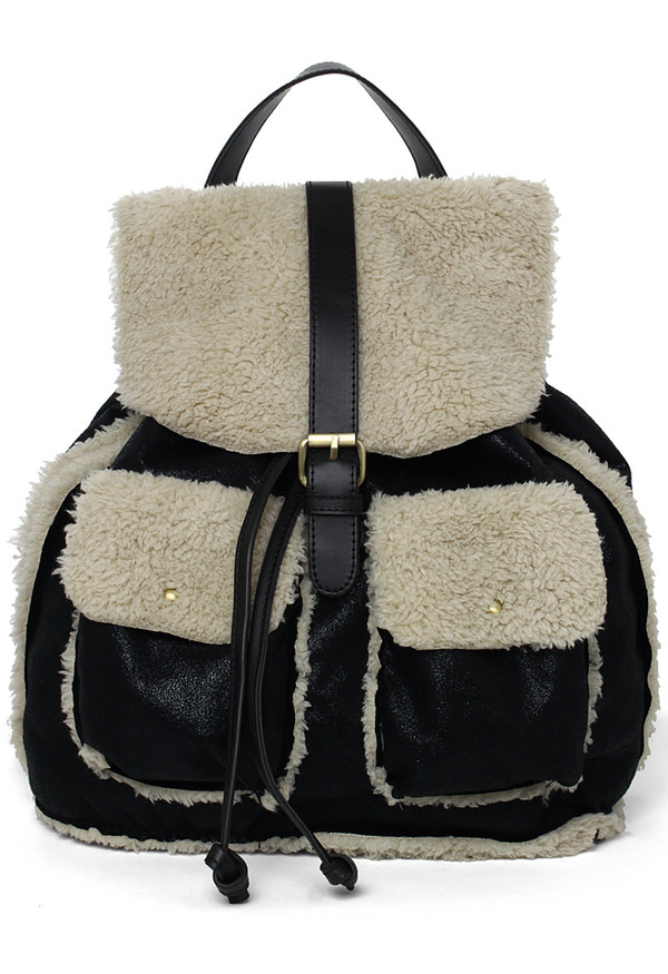 bag faux shearing backpack