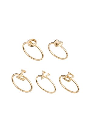 ASOS | ASOS Love Heart Finger Tip Ring Pack at ASOS
