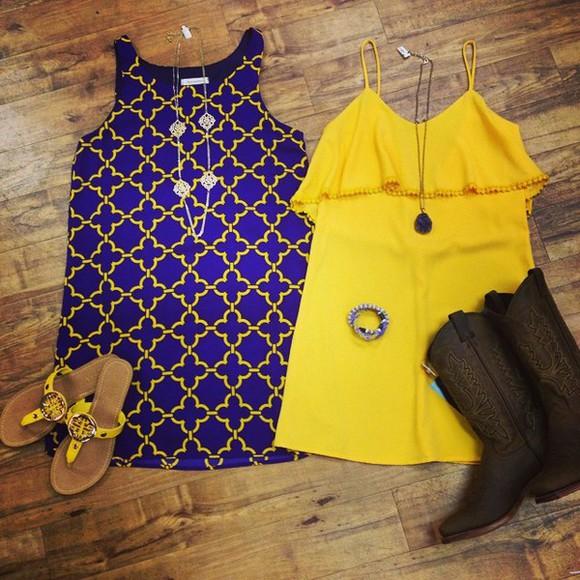 purple dress gold dress