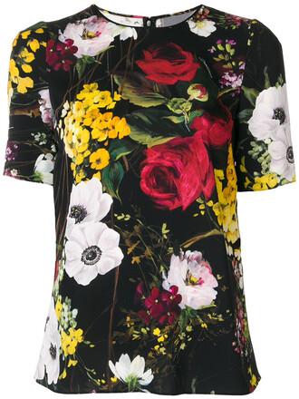 t-shirt shirt women spandex floral print black silk top