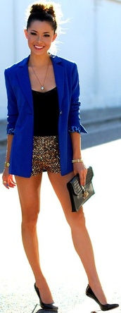 shorts,royal blue,gold sequence,blouse