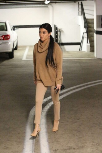 shoes camel sweater turtleneck pumps fall outfits kourtney kardashian kardashians kourtney kardashian style suede beige sweater nude heels