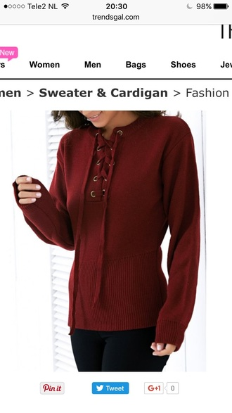 sweater burgundy fashion style red knitwear long sleeves fall outfits winter outfits fall sweater winter sweater trendsgal.com