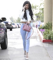 bag,pink,kylie jenner,jeans,nude,all nude everything,nude bag,strappy heels,crop,pants,nude pants,slimmed,strappy shoes,dusty pink