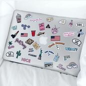 home accessory,yeah bunny,pink,pastel,stickers,apple,macbook air,computer sticker