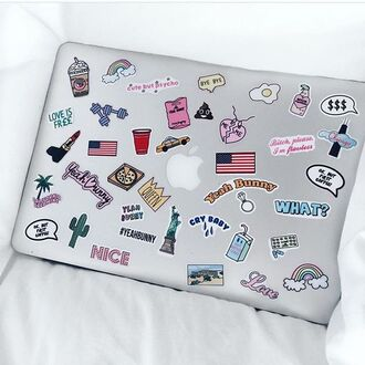 home accessory yeah bunny pink pastel stickers apple macbook air computer sticker
