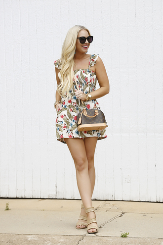 cortinsession blogger romper shoes jewels sunglasses bag louis vuitton bag louis vuitton sandals spring outfits