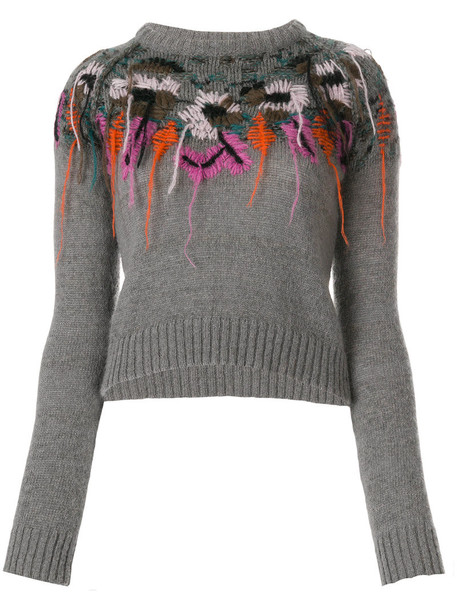 A.F.VANDEVORST top knitted top embroidered women fit wool grey