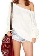 sweater,white top,off the shoulder sweater
