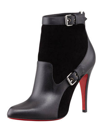 Christian Louboutin Canassone Buckled Suede-Leather Bootie - Neiman Marcus