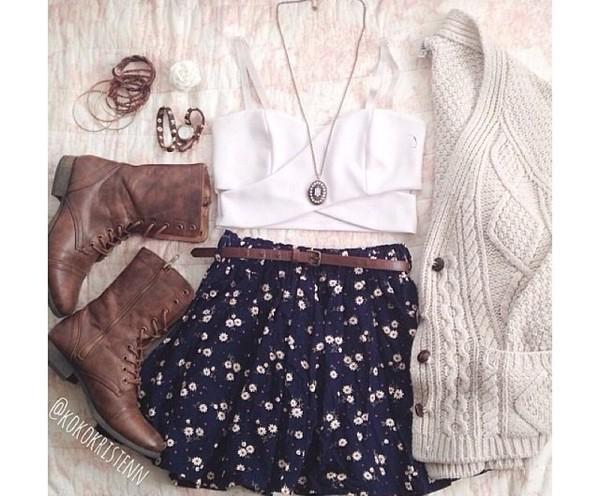 shirt white crop tops crop tops cut-out boots skirt necklace bracelets knitwear belt jacket sweater