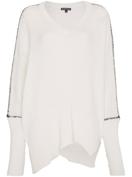 ANN DEMEULEMEESTER sweater slouchy sweater women white cotton