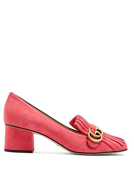 gucci loafers suede pink shoes