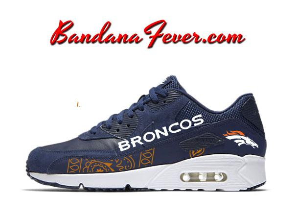 Custom Orange Bandana Broncos Nike Air Max 90 Shoes Ultra ... 8581da2844c1