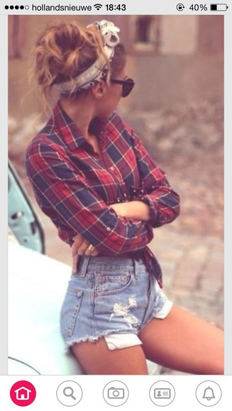 shorts headband blouse hipster bandana cute shorts plaid blouse tartan tartan top