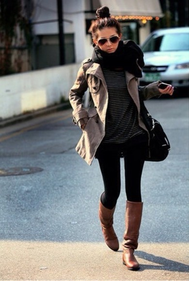 black leggings jacket leggings scarf boots cute girly fall fashion brown leather boots cute jacket striped shirt black scarf
