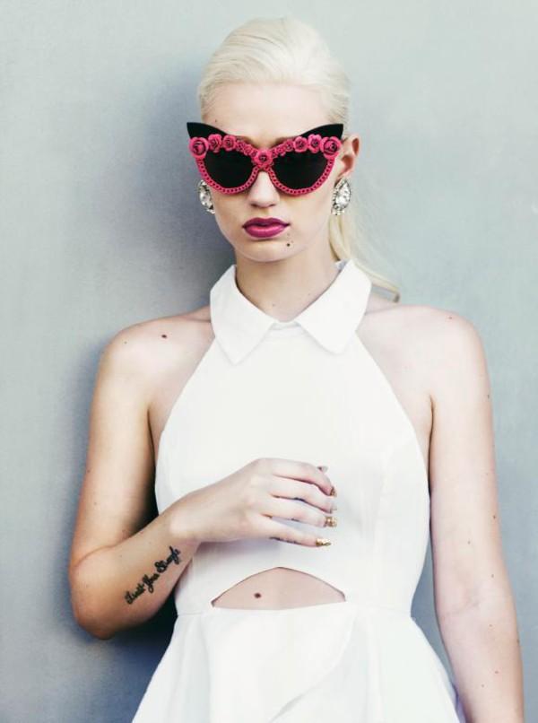sunglasses iggy azalea cat eye pink sunglasses earrings diamonds