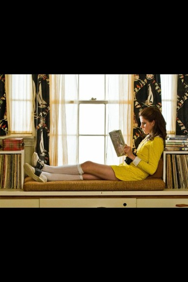 moonrise kingdom dress yellow vintage oxford shoes collar