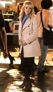 pink coat,scarf,spider-man,shoes,emma stone,coat