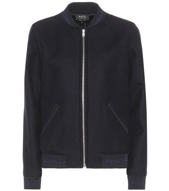 jacket bomber jacket wool blue