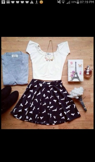 short skirt bird skirt black and white skirt
