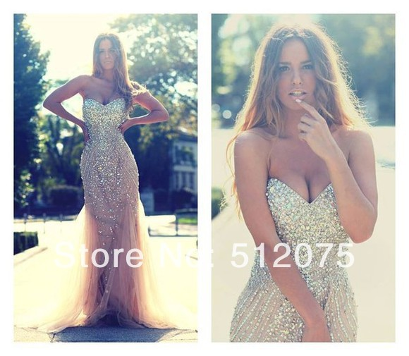 Aliexpress.com : Buy 2014 New Arrives Long Mermaid Prom Dresses Sexy Sleeveless Heavy Beaded Organza Cheap Prom Dress Customer Made from Reliable dress run suppliers on kiss family